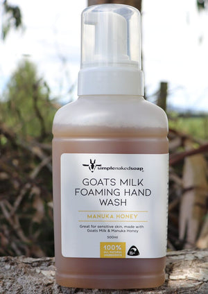 simplenakedsoap goat milk foaming hand wash manuka honey large