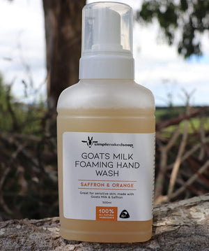 simplenakedsoap goat milk foaming hand wash saffron and orange large