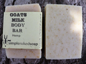 simplenakedsoap goat milk and hemp body bar