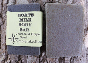 simplenakedsoap goat milk charcoal and grape seed body bar