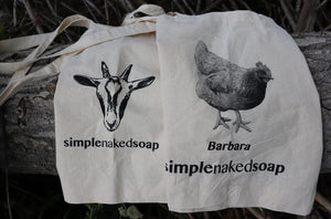 simplenakedsoap cotton shopping bags available with cassanova goat or barbara chicken