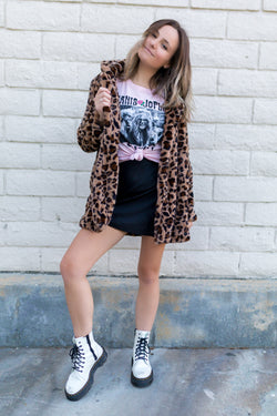 BLACK EMBOSSED LEOPARD MINI SKIRT