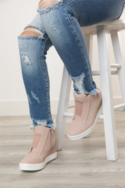 WEDGE DRESSY TENNIS SHOE - BLUSH
