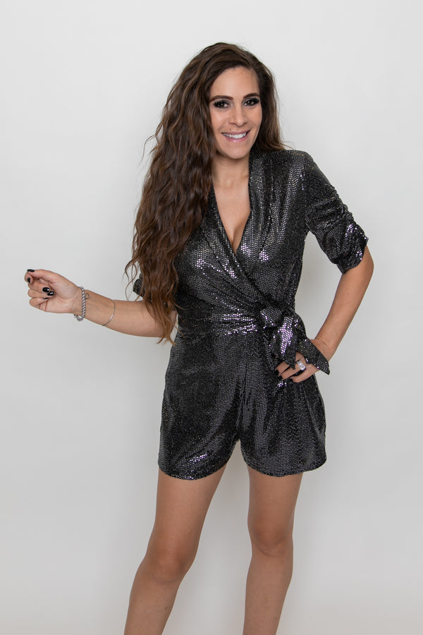 SIDE TIE SPARKLE ROMPER-CHARCOAL/BLACK