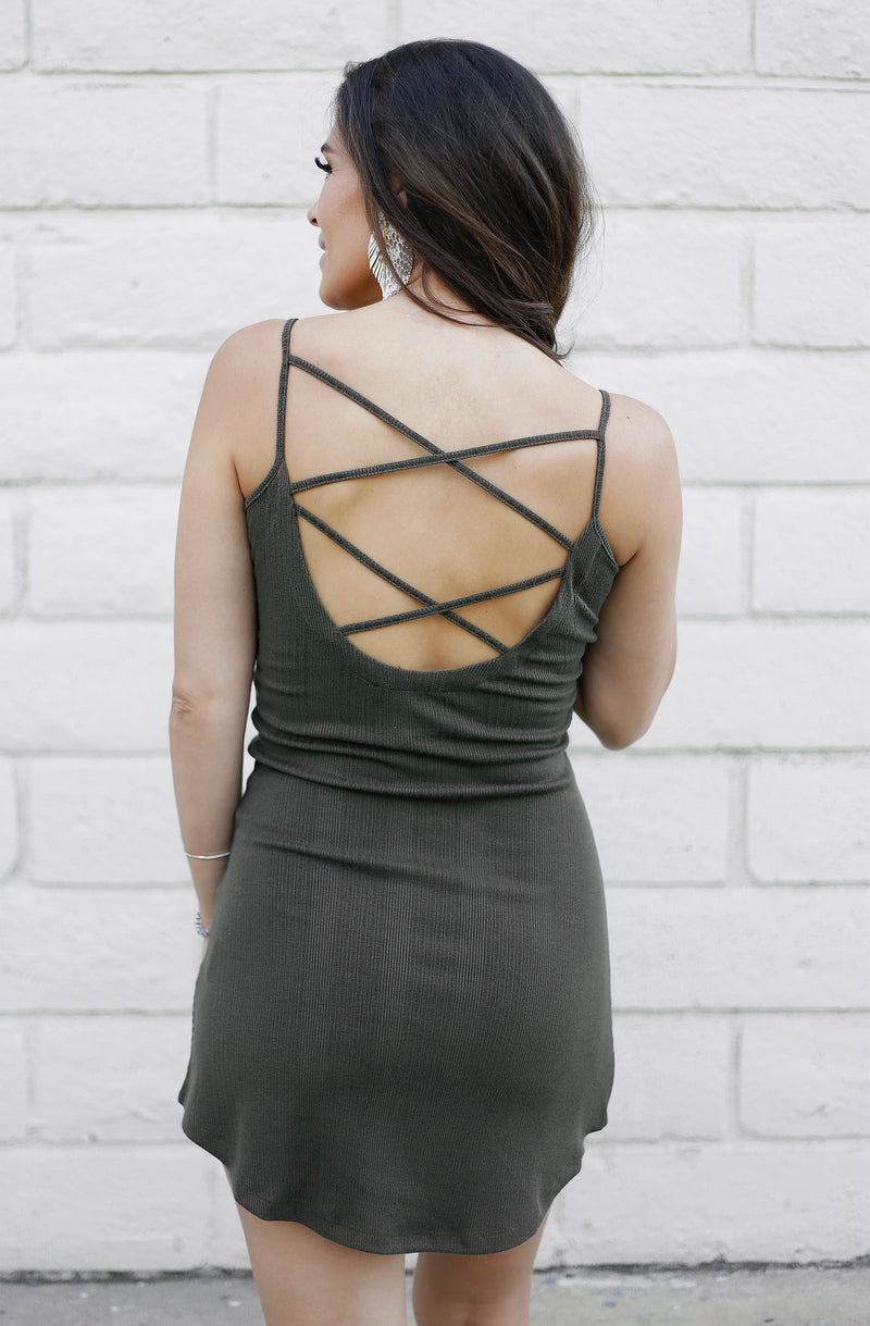 CRISS CROSS BACK MINI DRESS - OLIVE