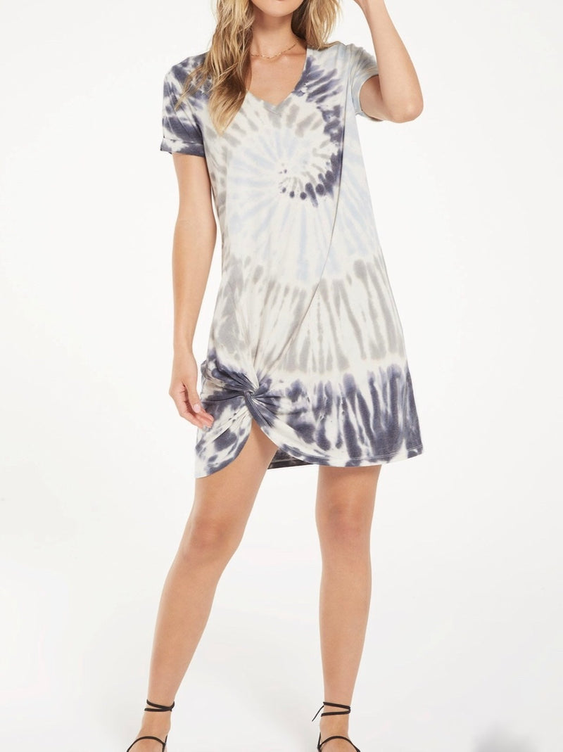 Z SUPPLY TIE DYE SIDE KNOT DRESS - DEEP INDIGO & DESERT WHITE - RETAIL STORE