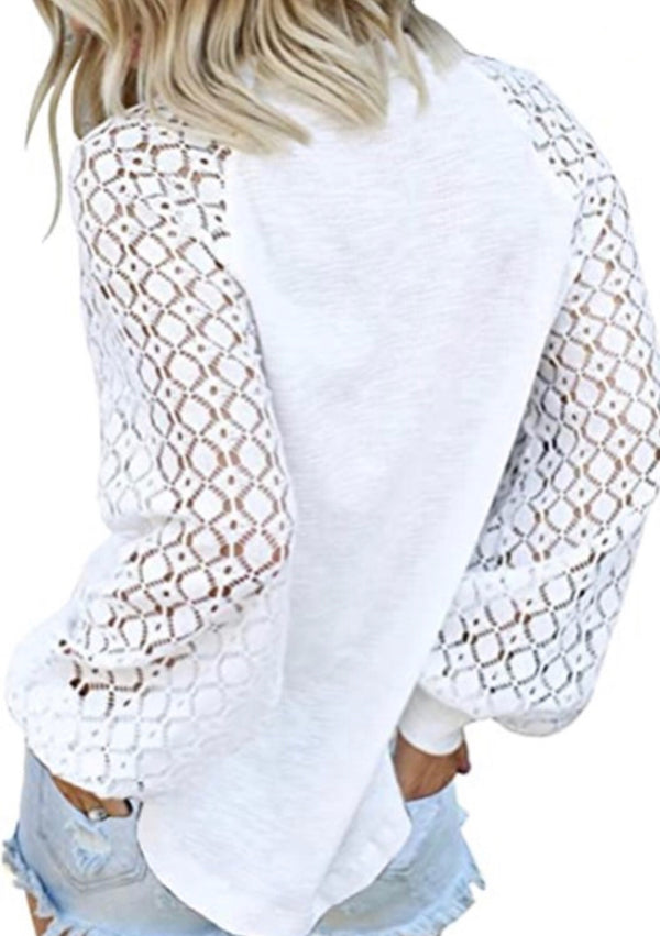 LACE SLEEVE TOP - WHITE - RETAIL STORE