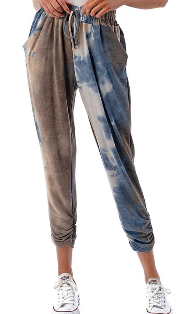 TIE DYE RUCHED JOGGERS - BLUE/BROWN - RETAIL STORE