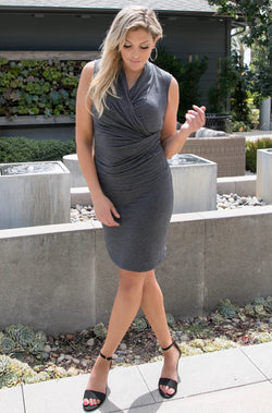 SLEEVELESS V NECK OVERLAP DRESS