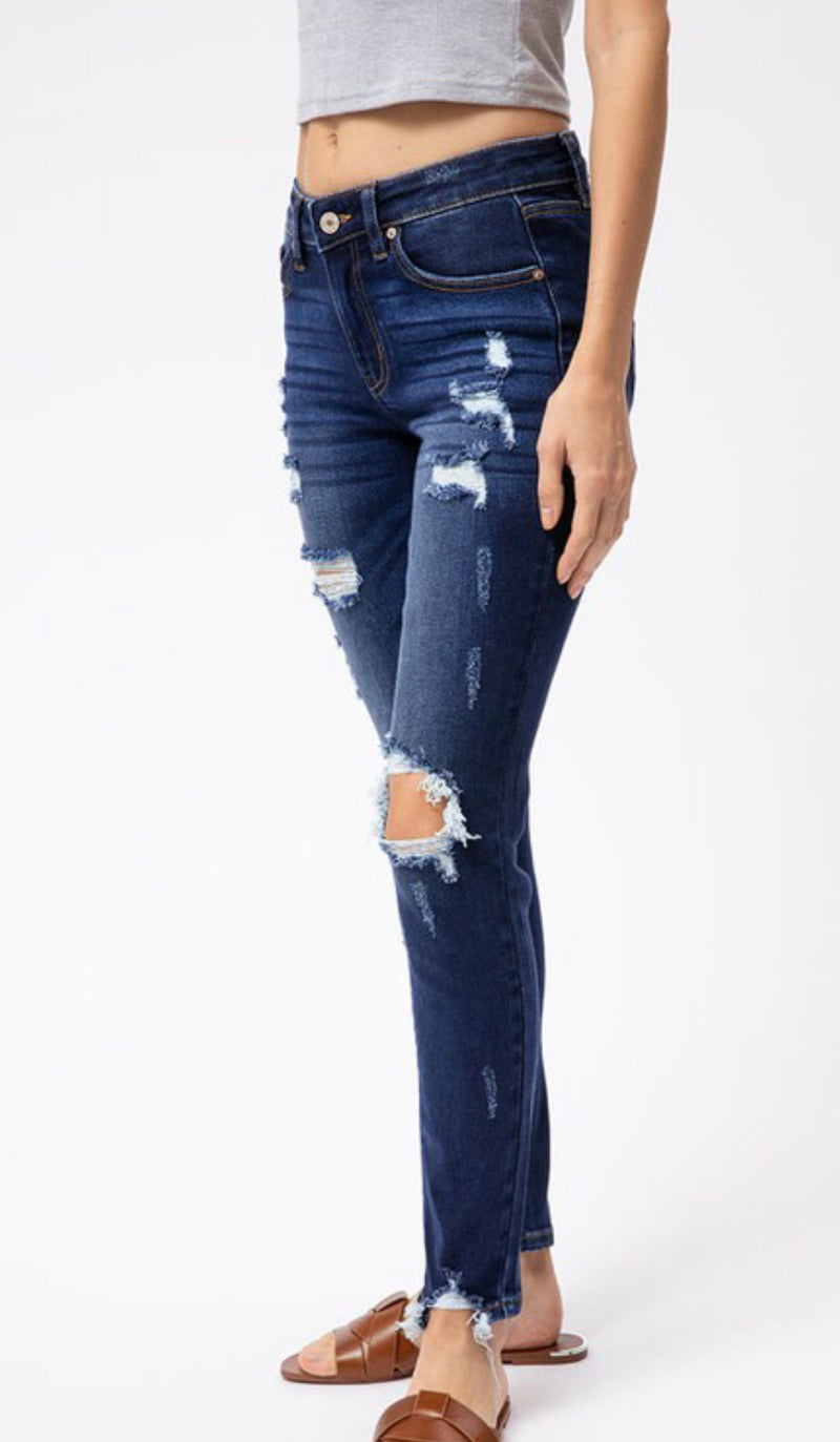 MID RISE DISTRESSED SUPER SKINNY JEANS - DARK WASH - RETAIL STORE