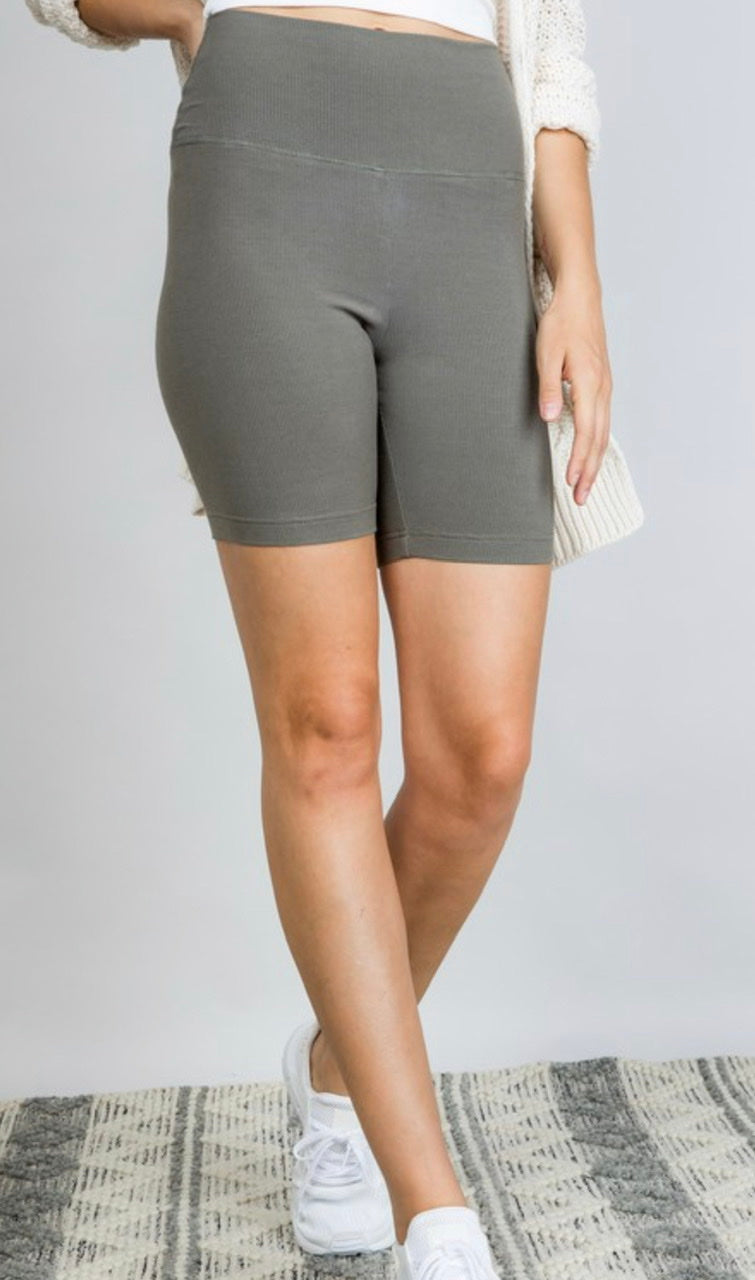 RIBBED HIGH RISE BIKE SHORTS - BLACK, OLIVE AND TAUPE