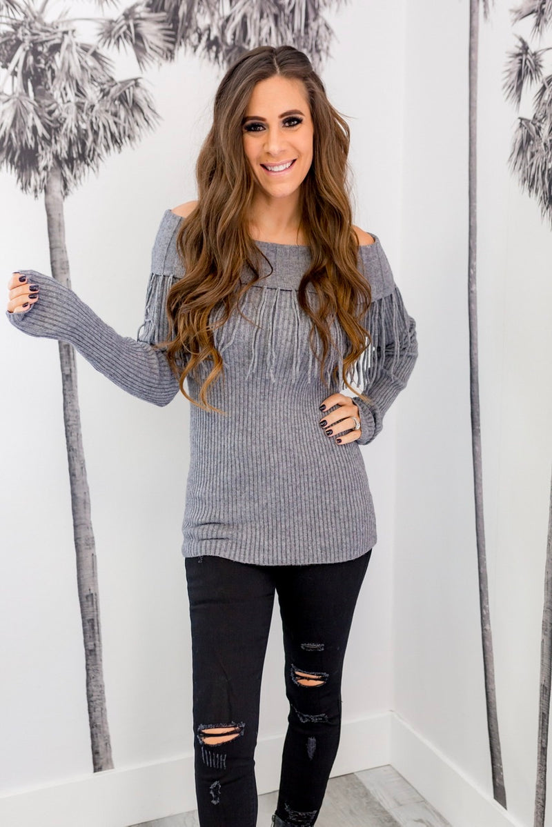 OFF THE SHOULDER FRINGE SWEATER-GRAY