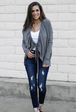 TIE CARDIGAN SWEATER - CHARCOAL