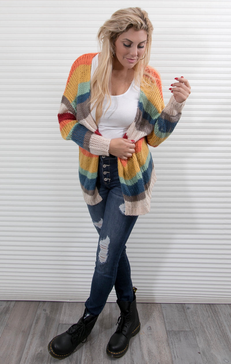 STRIPED RAINBOW CARDIGAN SWEATER