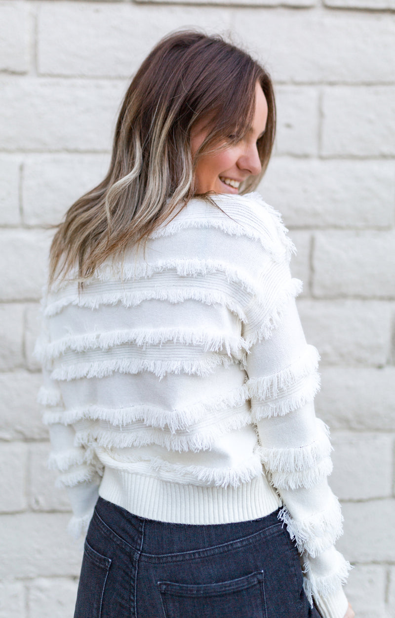CROPPED FRINGE SWEATER-OFF WHITE - RETAIL STORE