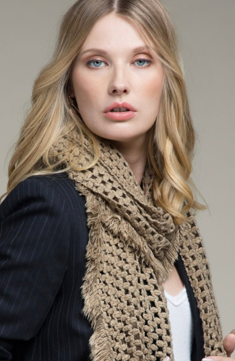 NET SCARF WITH FRAYED FRINGE - OLIVE, RUST, TAUPE & OFF WHITE - RETAIL STORE