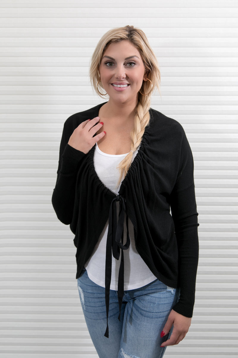 TIE CARDIGAN SWEATER - BLACK