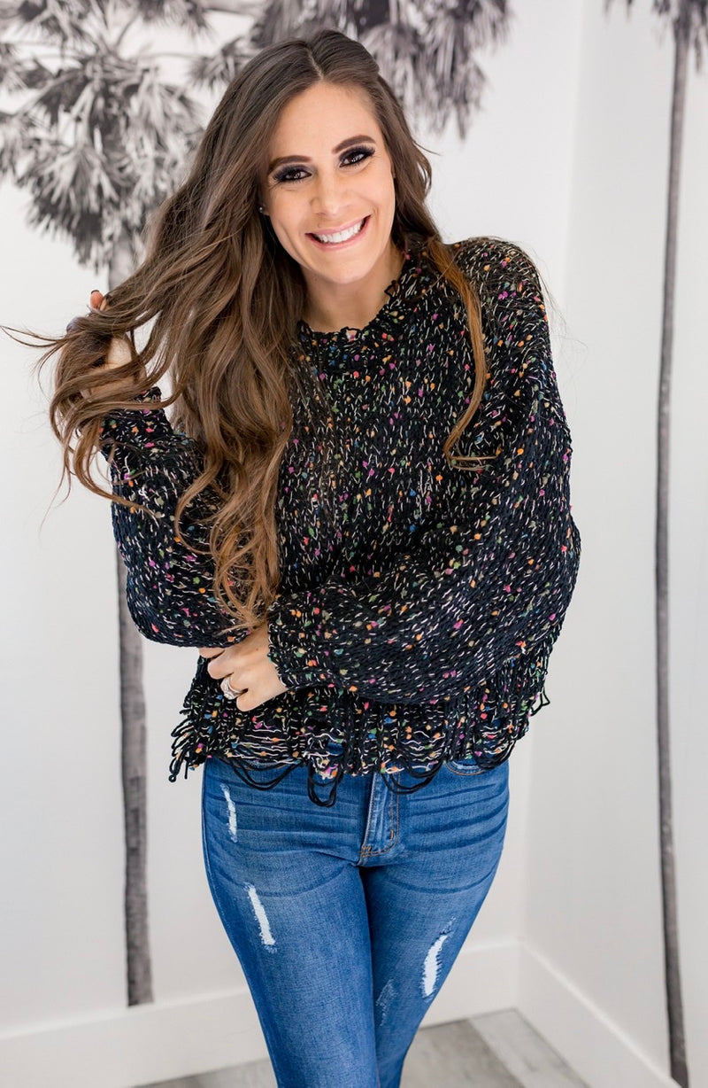 CONFETTI DISTRESSED SWEATER - BLACK