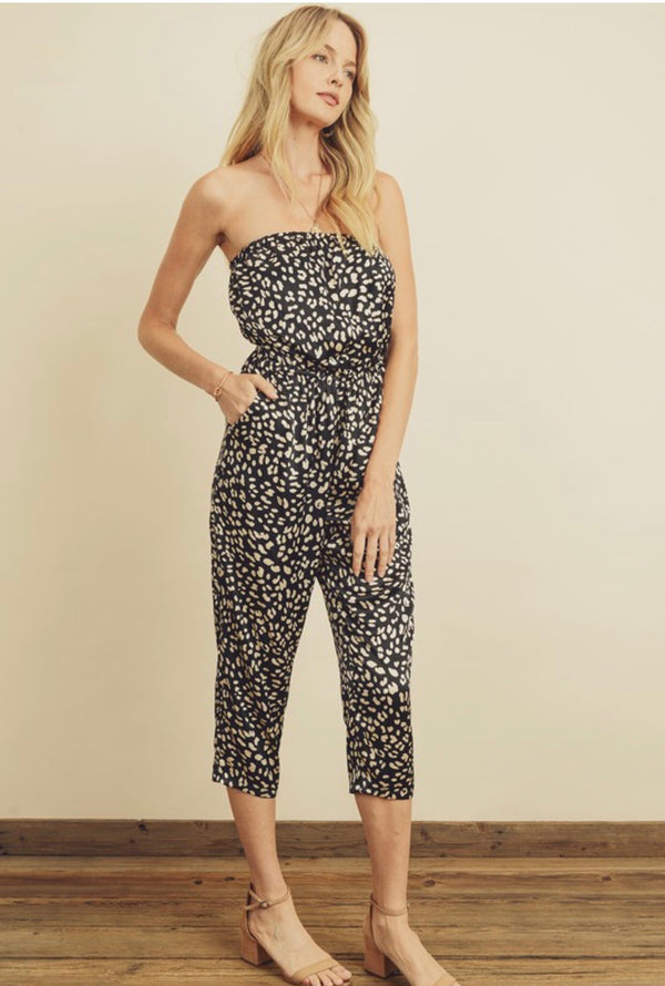 ANIMAL PRINT TUBE TOP JUMPSUIT - BLACK/BEIGE - RETAIL STORE