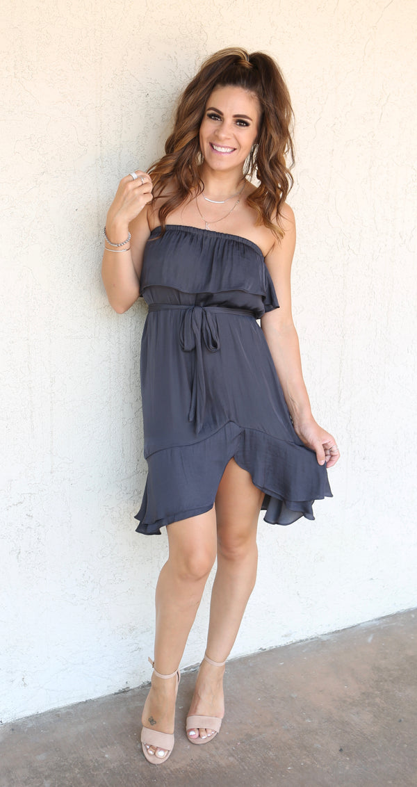 MINI TUBE DRESS WITH RUFFLE HEM - CHARCOAL & MAHOGANY - RETAIL STORE