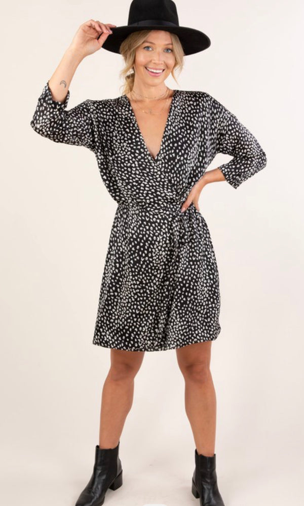 LEOPARD PRINT WRAP MINI DRESS - BLACK/IVORY - RETAIL STORE