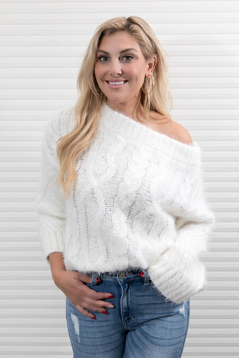 OFF THE SHOULDER PLUSH SWEATER - IVORY