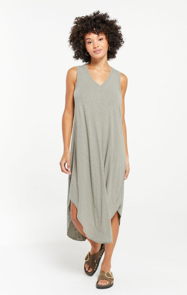 Z SUPPLY REVERIE MIDI DRESS - DUSTY SAGE, WILD ROSE AND HEATHER GREY - RETAIL STORE