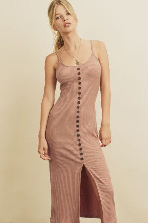 RIBBED KNIT MIDI DRESS - DUSTY PINK, BLACK AND WINE