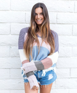 DISTRESSED COLORBLOCK SWEATER - RETAIL STORE