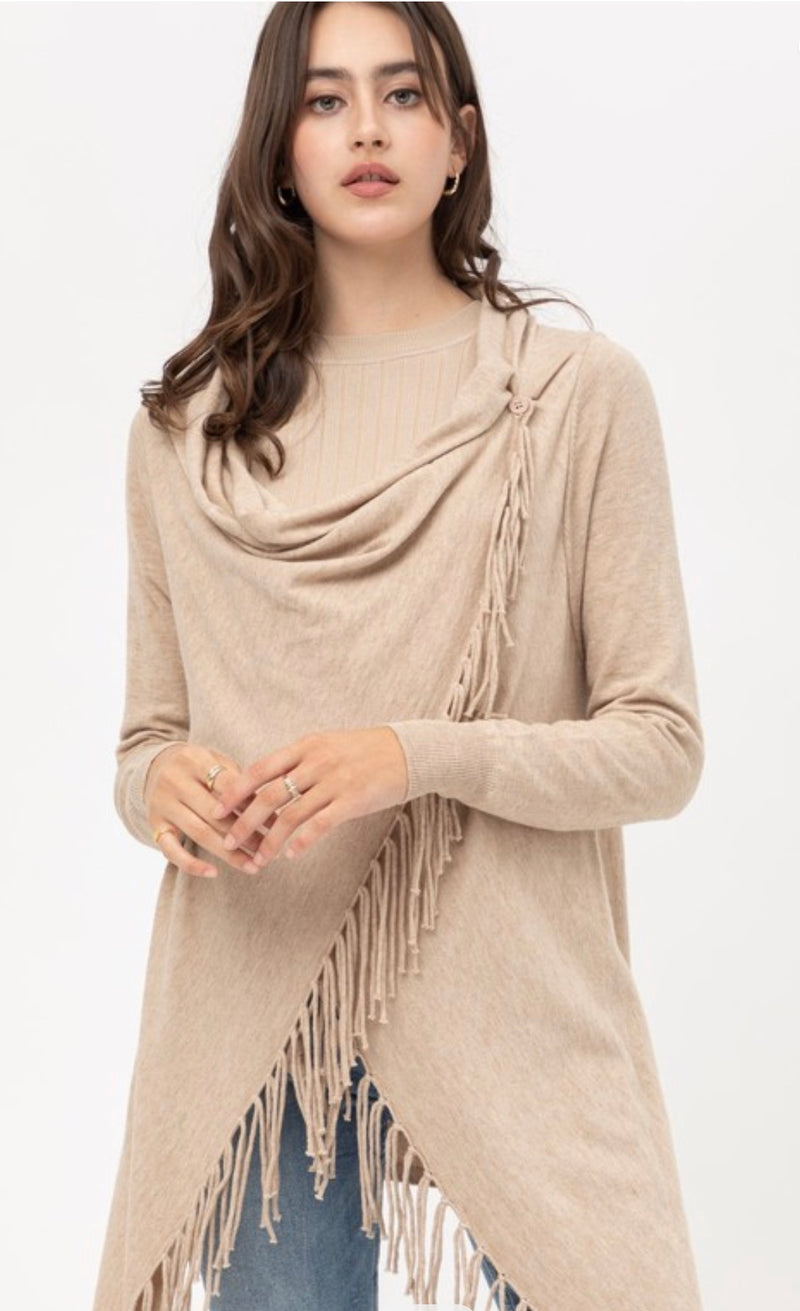 FRINGED PONCHO WRAP CARDIGAN - OATMEAL, HEATHER GREY AND LIGHT CLAY - RETAIL STORE