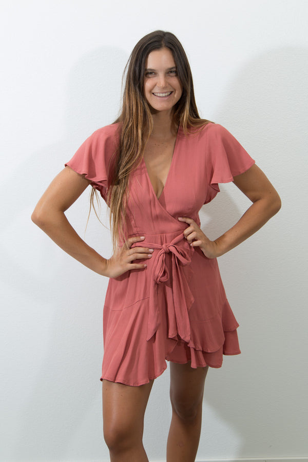 RUFFLED WRAP DRESS - ROSE
