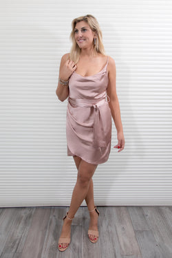 COWL NECK  SATIN DRESS - ROSE GOLD