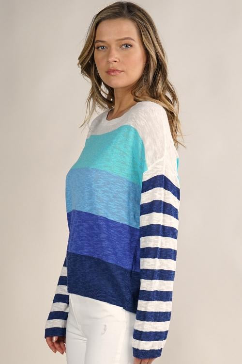 STRIPED SWEATER - NAVY MULTI