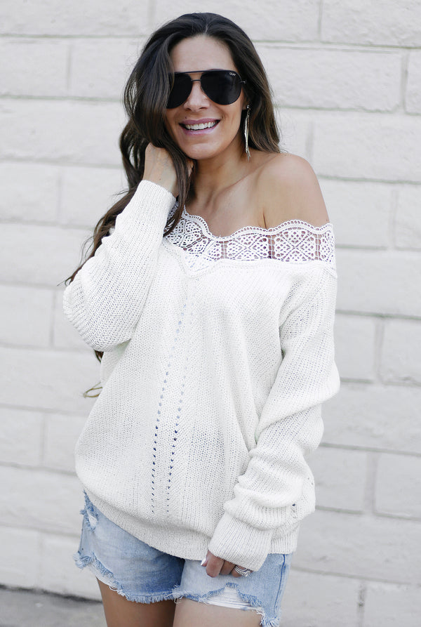 OFF THE SHOULDER LACE SWEATER - OFF WHITE