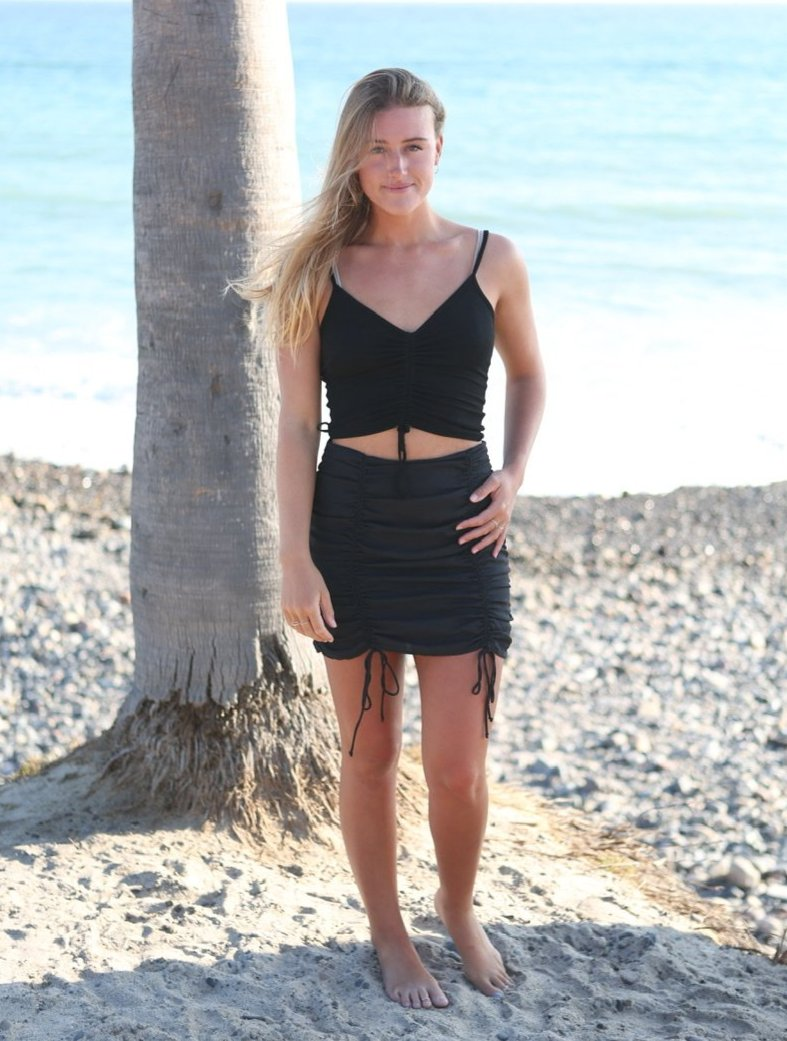 RUCHED MINI SKIRT - BLACK - RETAIL STORE