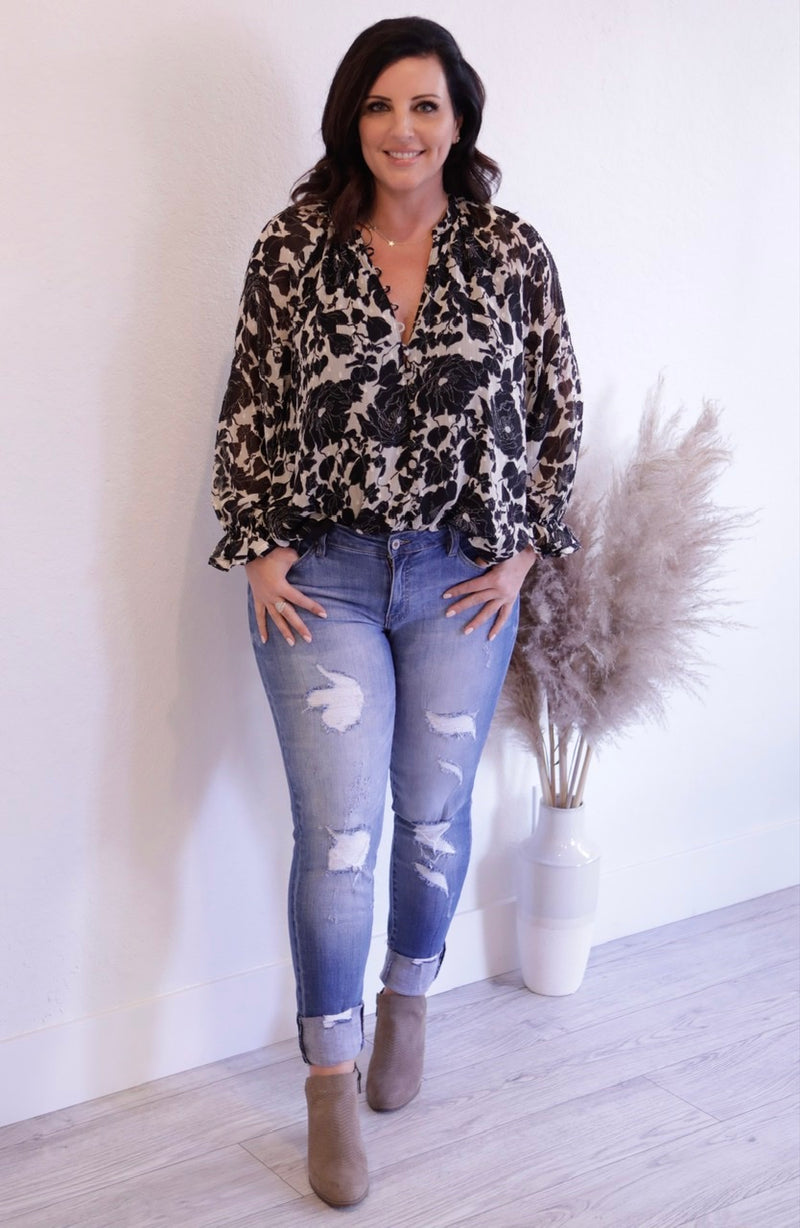 PRINTED LONG SLEEVE V NECK BLOUSE - CREAM/BLACK & GREY/BLUSH  - RETAIL STORE