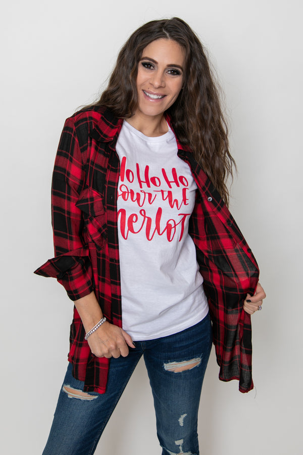 BUTTON UP PLAID SHIRT-RED/BLACK