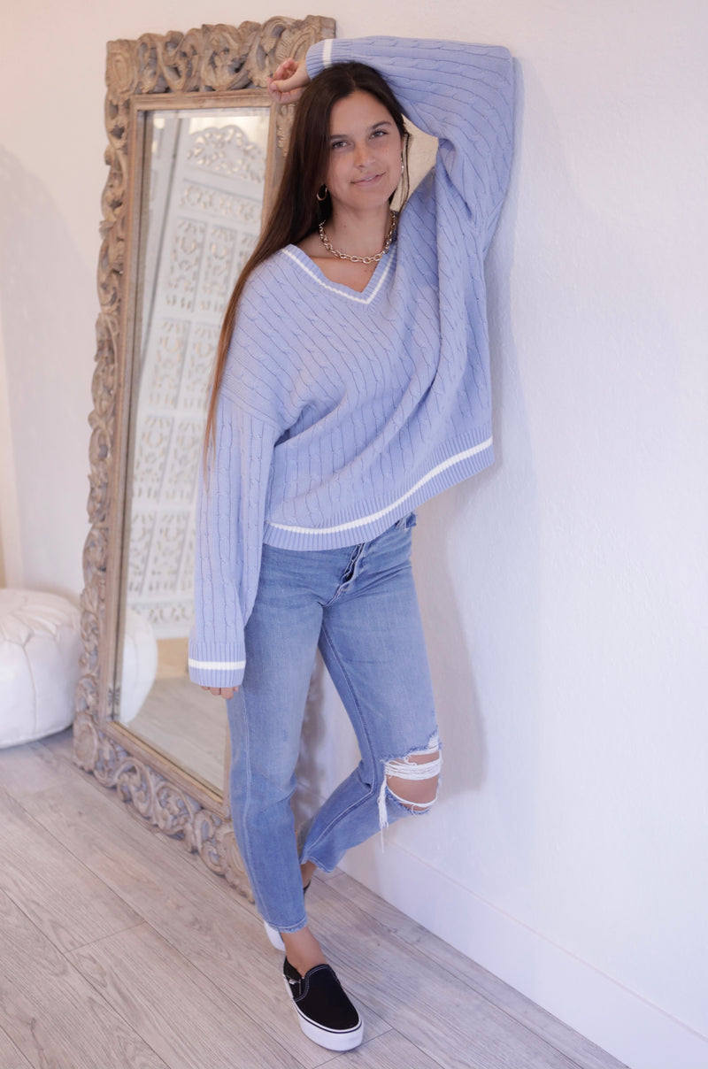 OVERSIZED V NECK CABLE KNIT SWEATER - CHAMBRAY & WHITE - RETAIL STORE