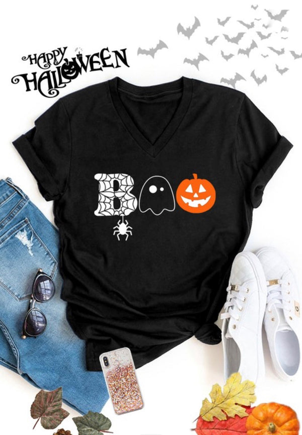 """BOO"" SHORT SLEEVE GRAPHIC T-SHIRT - BLACK AND WHITE"