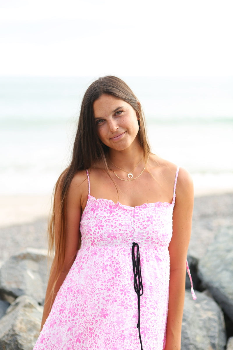BOHO PRINT SPAGHETTI STRAP MINI DRESS - PINK- RETAIL STORE