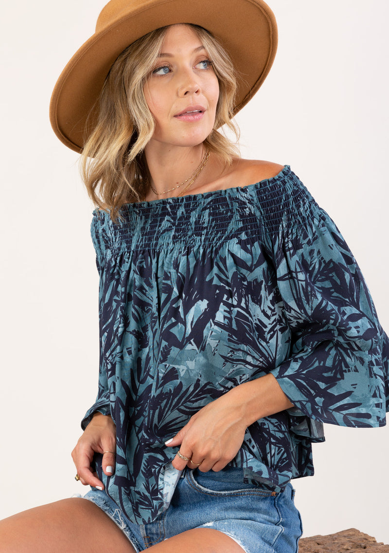 TROPICAL PRINT OFF SHOULDER SMOCKED TOP - TEAL/MIDNIGHT - RETAIL STORE