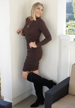 LONG SLEEVE SIDE RUCHED DRESS - CHOCOLATE - RETAIL STORE