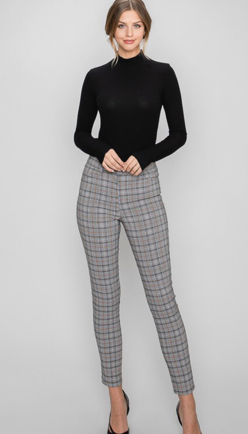 SKINNY FIT CROPPED LEG PLAID JACQUARD TROUSER - BLACK/PEACH - RETAIL STORE