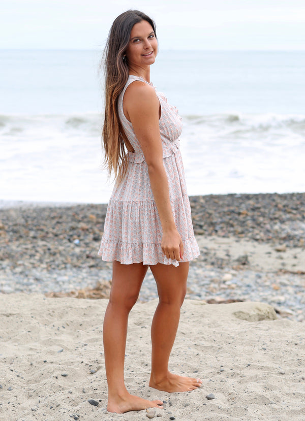 V NECK RUFFLE DRESS - DOVE AND SAND - RETAIL STORE