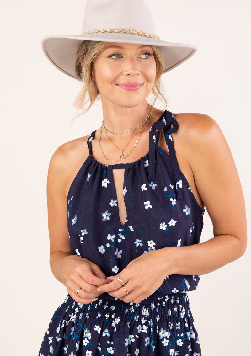 DRAWSTRING NECK HALTER MINI DRESS W/FRONT KEYHOLE - FLORAL NAVY/TURQUOISE - RETAIL STORE