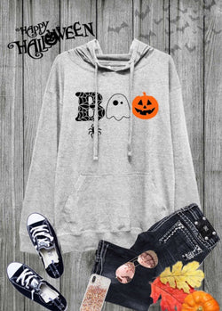 """BOO"" SOFT JERSEY PULLOVER HOODIE - HEATHER GREY"