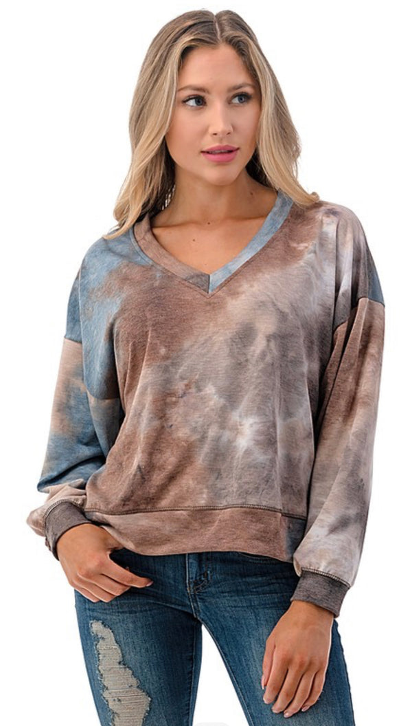 TIE DYE V-NECK SWEATSHIRT - BLUE/BROWN - RETAIL STORE