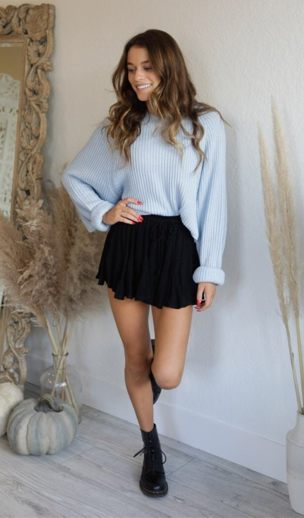 CROPPED RIBBED SWEATER - SKY & IVORY - RETAIL STORE