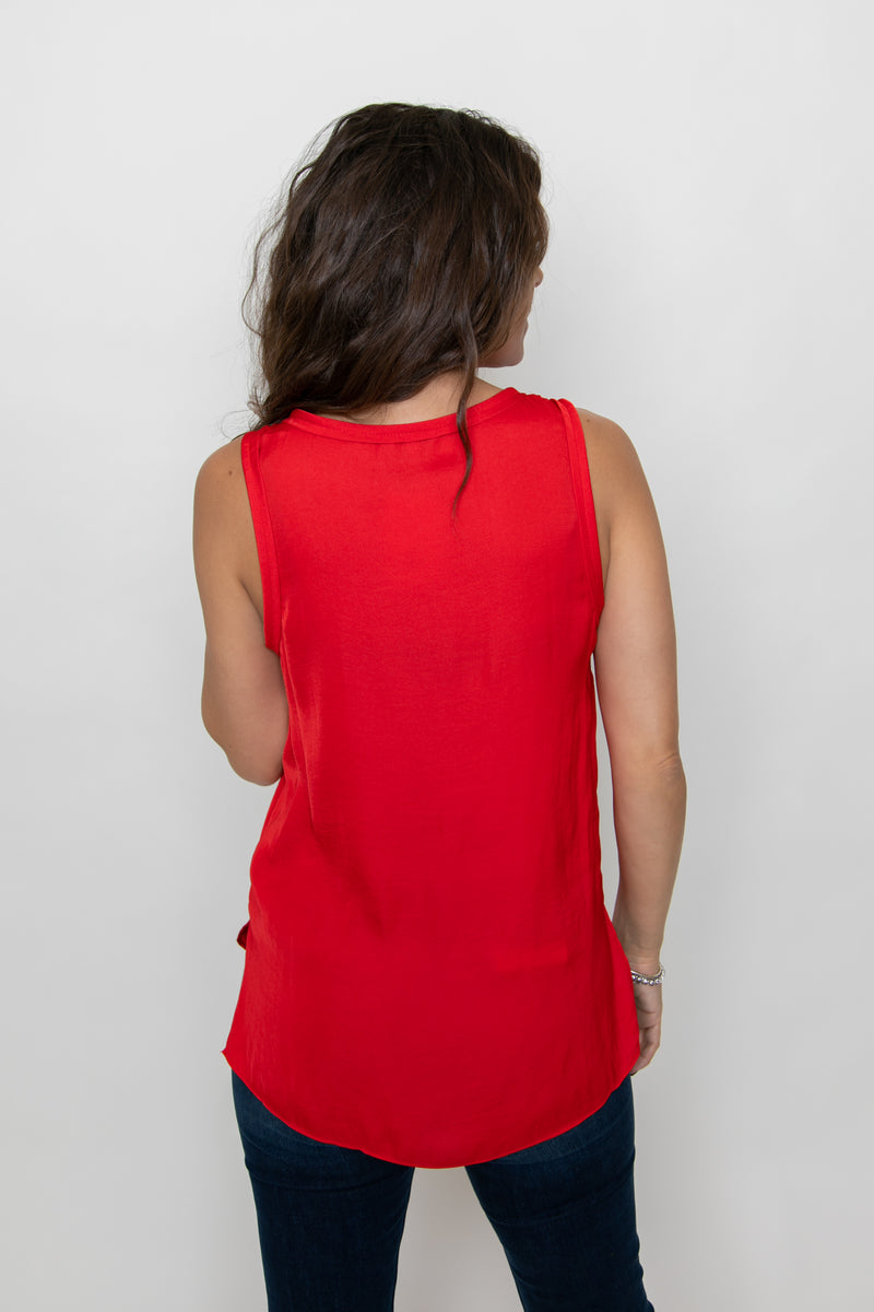 SCOOP NECK TANK TOP-RED