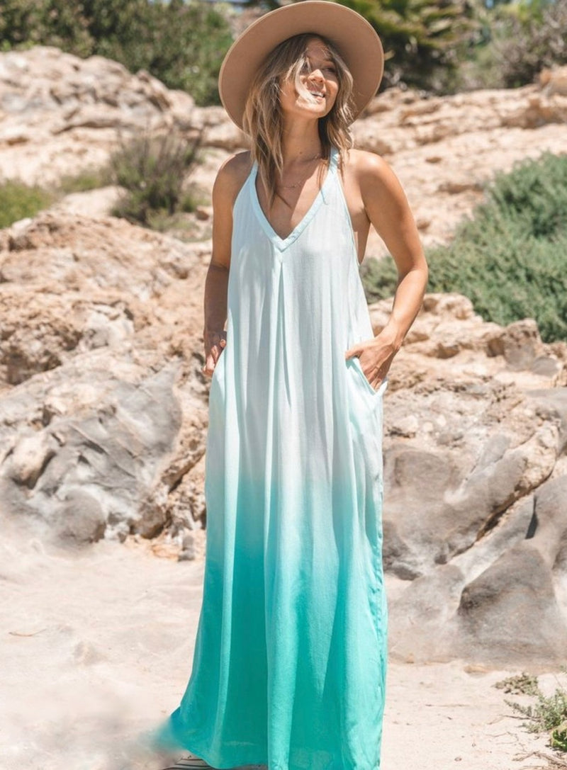 OMBRE SLEEVELESS  MAXI DRESS- BLUE, CORAL AND MINT- RETAIL STORE